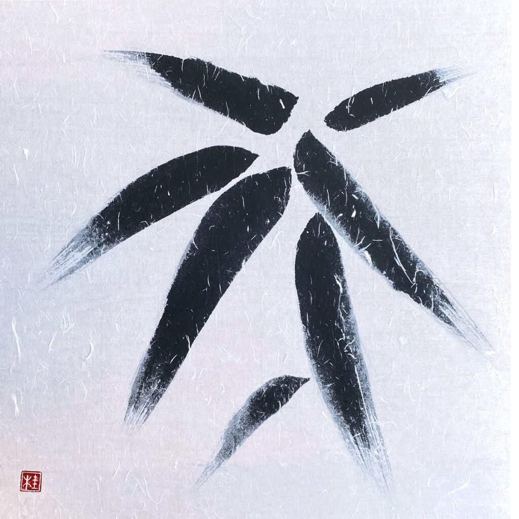 Bambusblätter im Winter